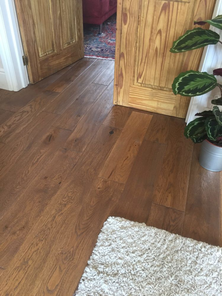 Hand Scraped, Stained and Distressed Oak Floor Board