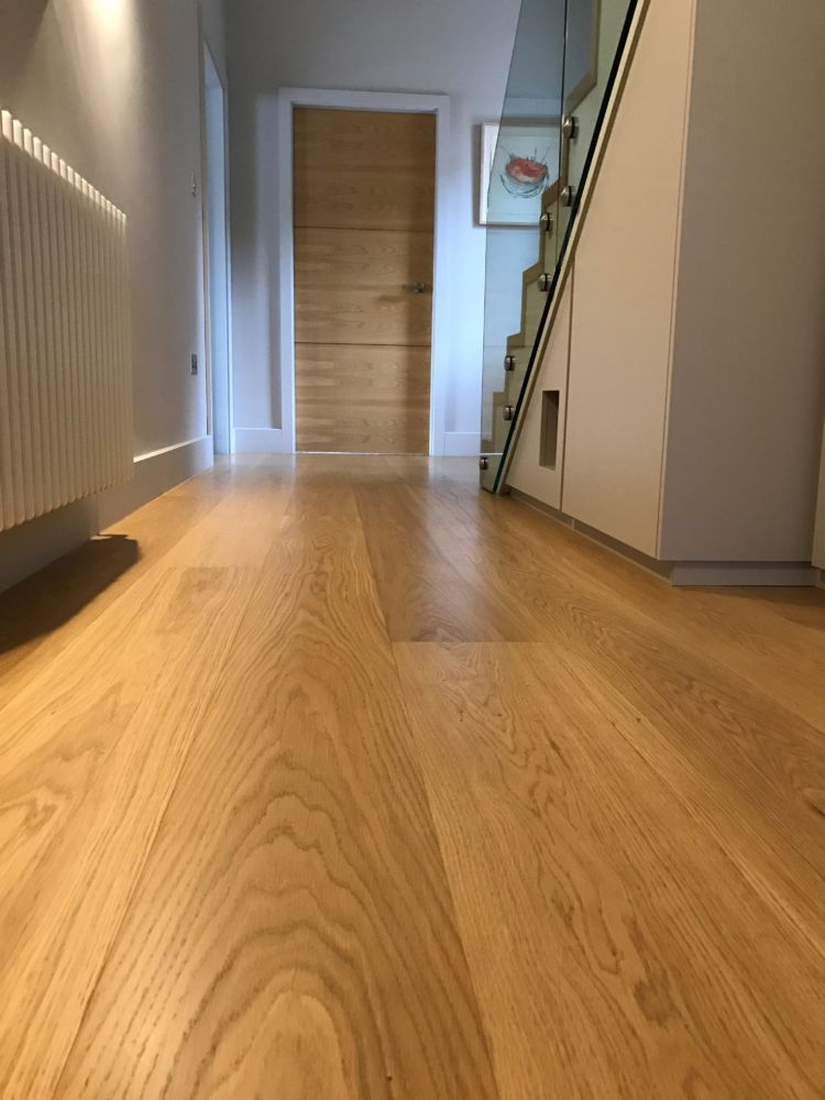 Solid Oak Flooring, Finished with Clear Satin Fiddes Hard Wax Oil